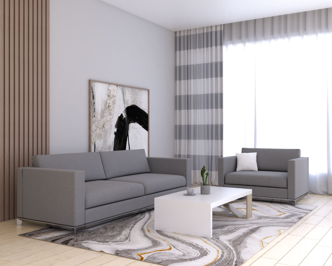 Gray and white curtains in living room with gray furniture