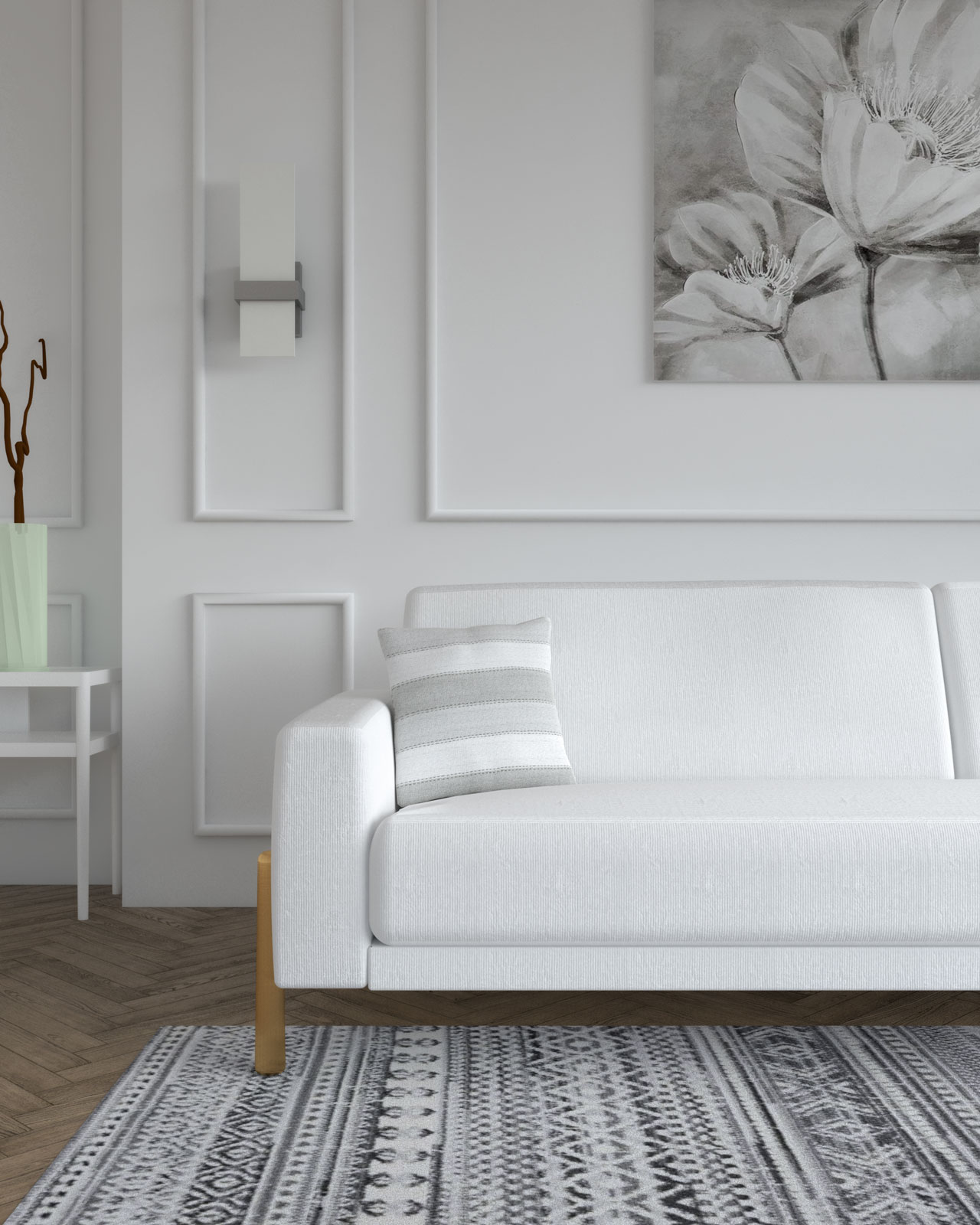 Gray and white pillow in white couch