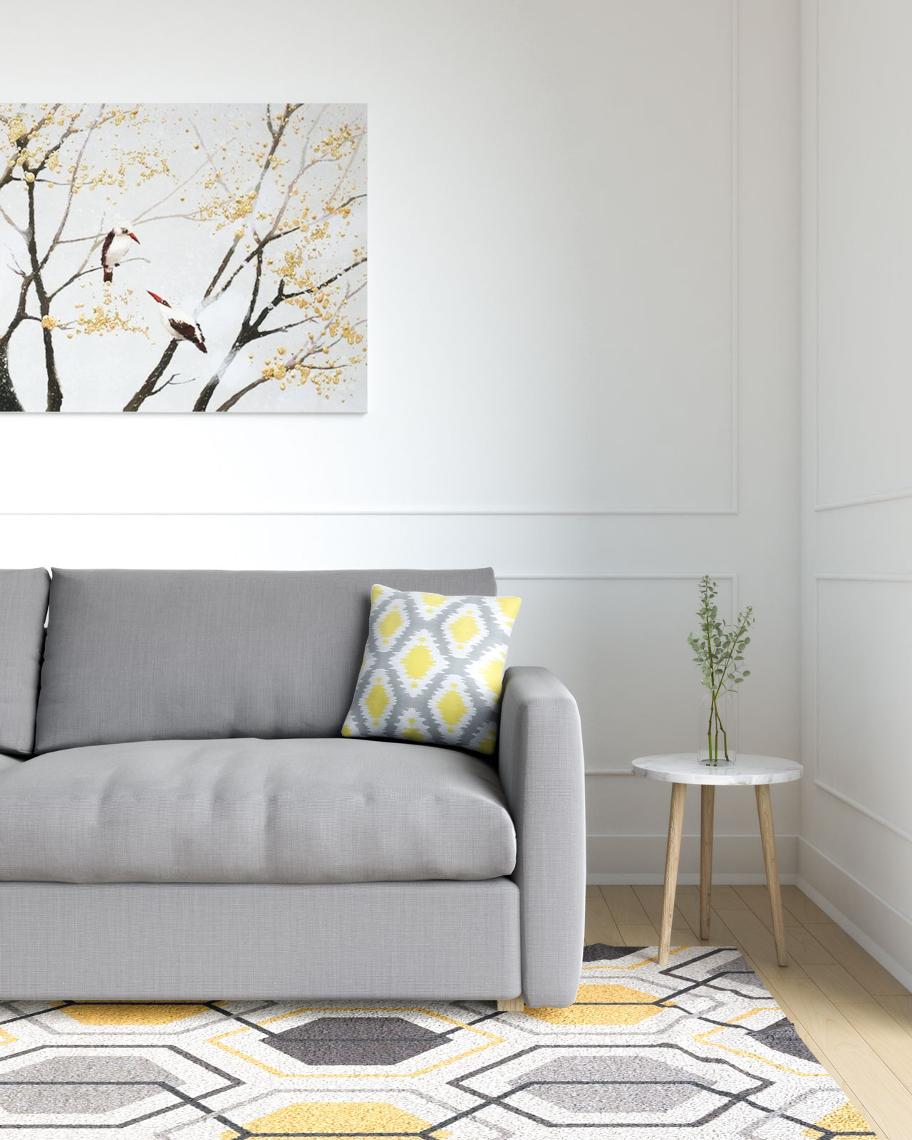 Gray and yellow pillow with grey couch