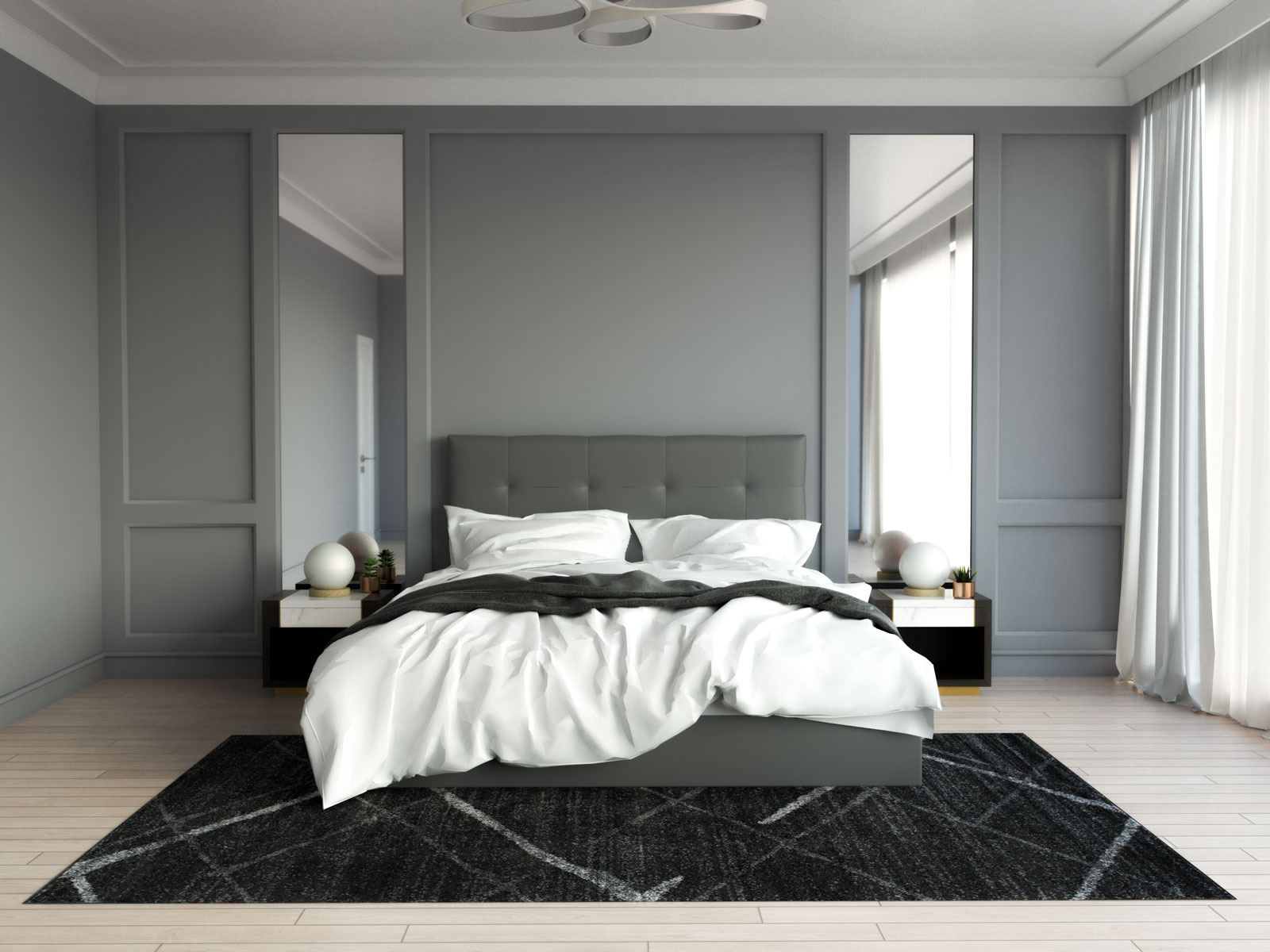 Contemporary black rug with gray bed