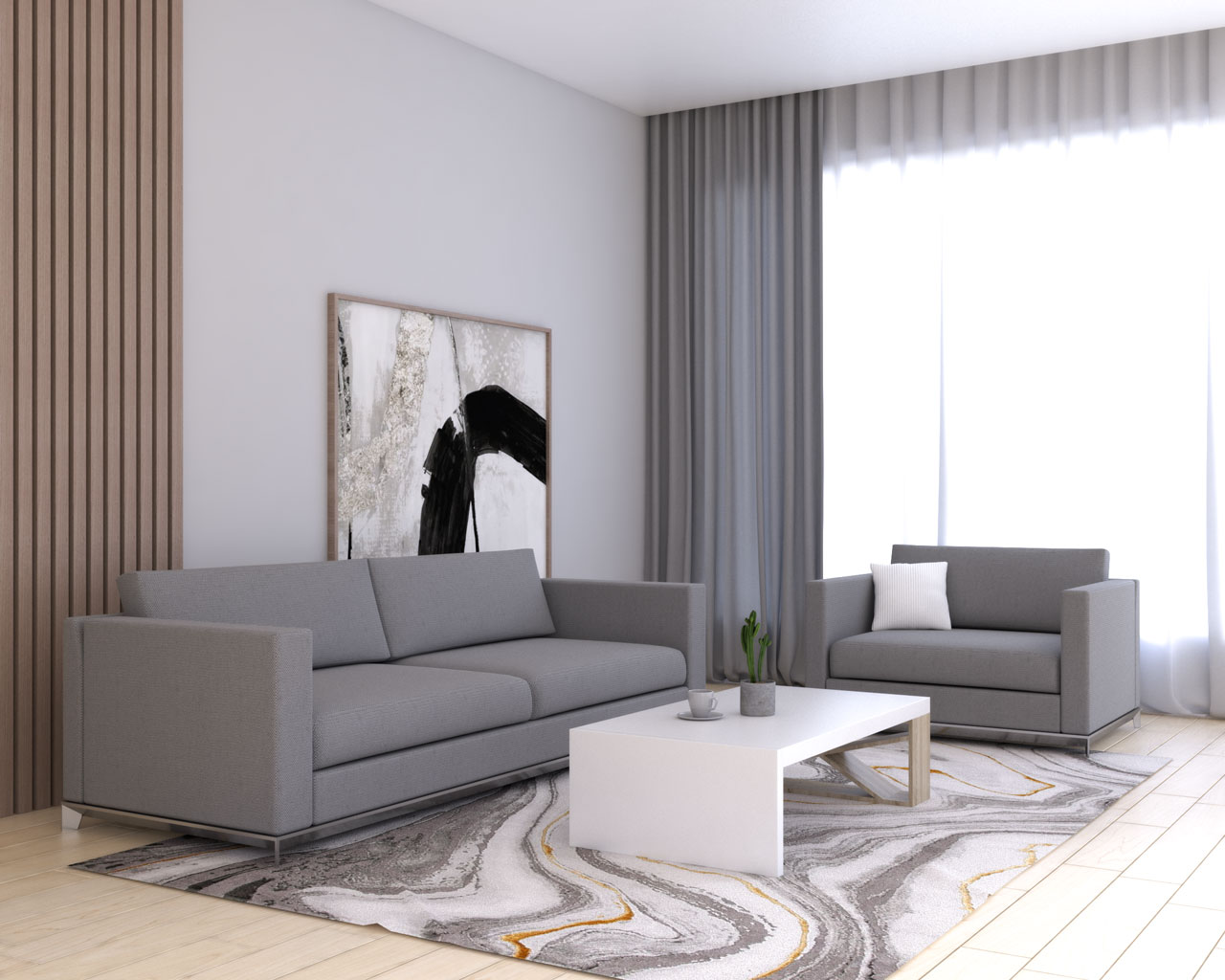 Gray curtains in gray living room