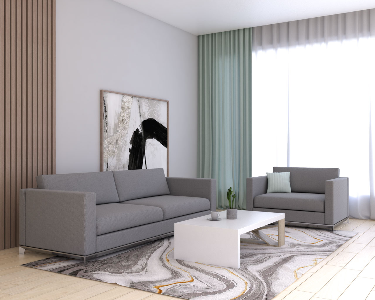 Mint curtains in living room with grey furniture