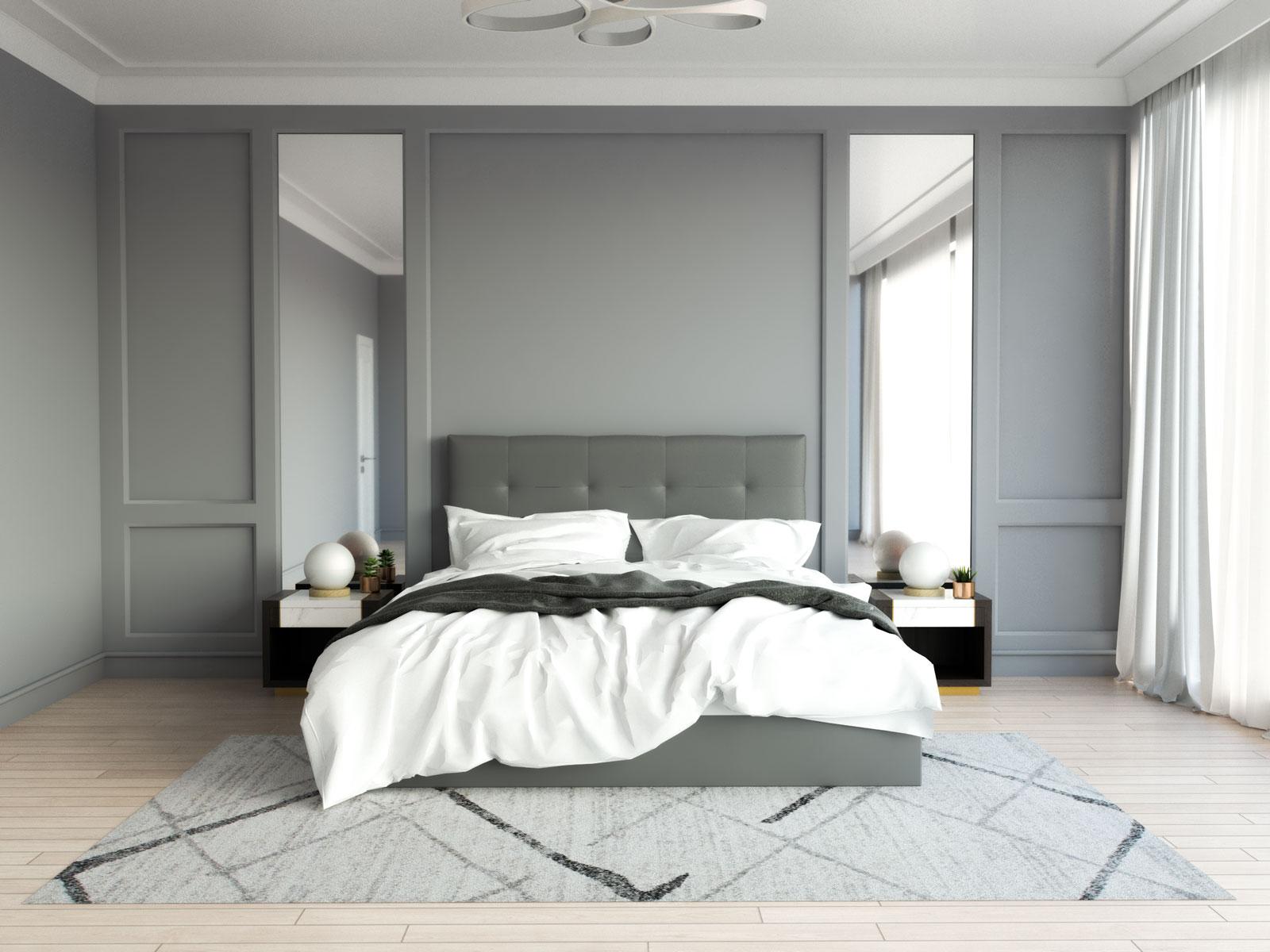 Light gray rug in monochromatic style gray bedroom