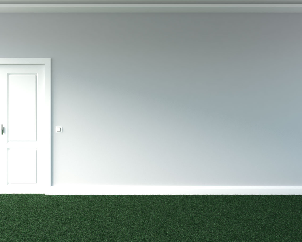 Green carpet with gray walls