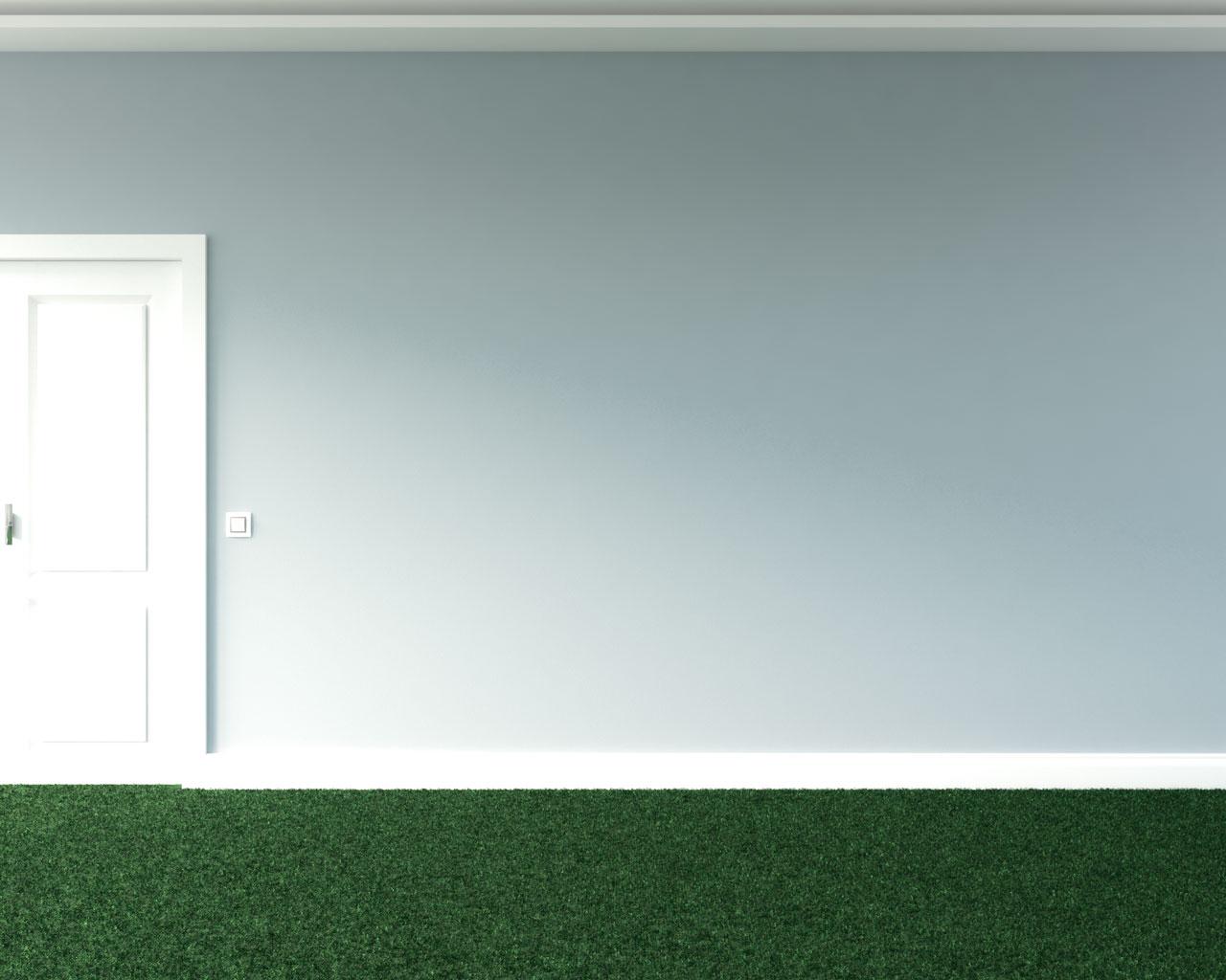 Green carpet flooring with grayish blue wall