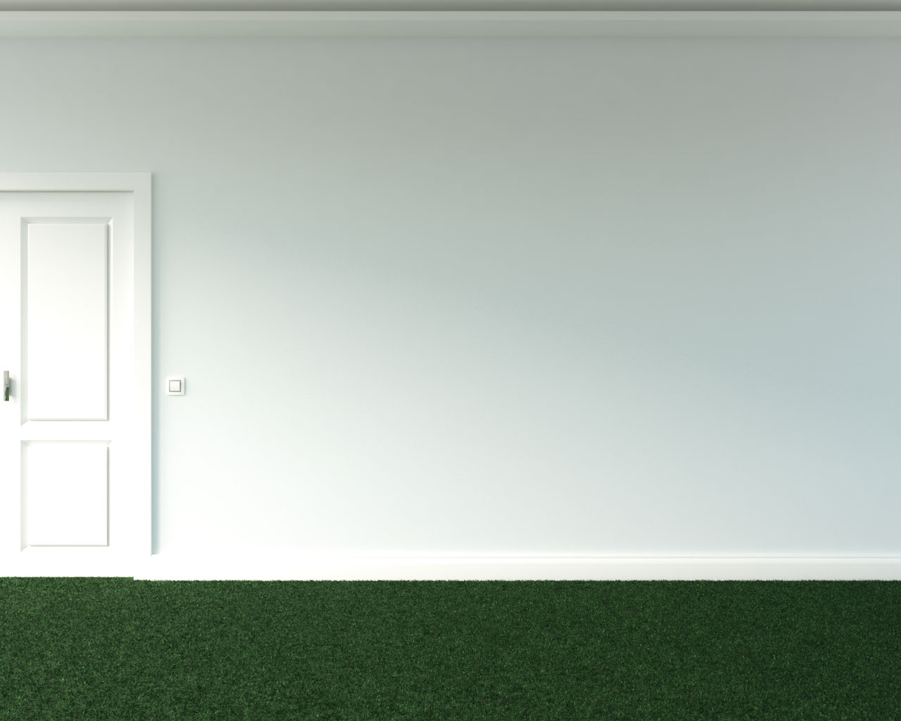 Green carpet floors with icy blue wall