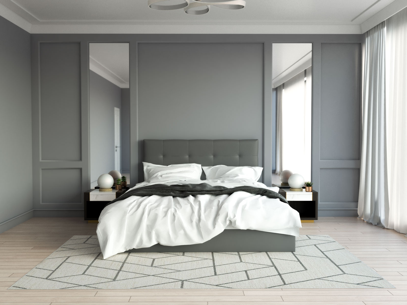 Ivory geometric-style rug with gray bedroom