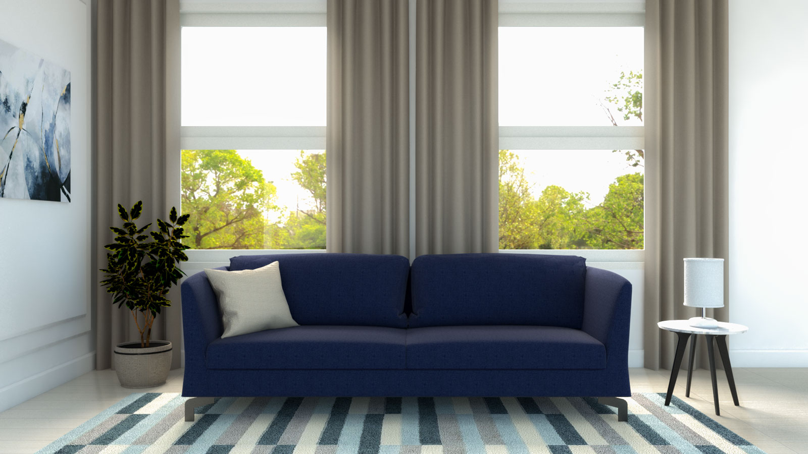 Light brown curtains with blue couch