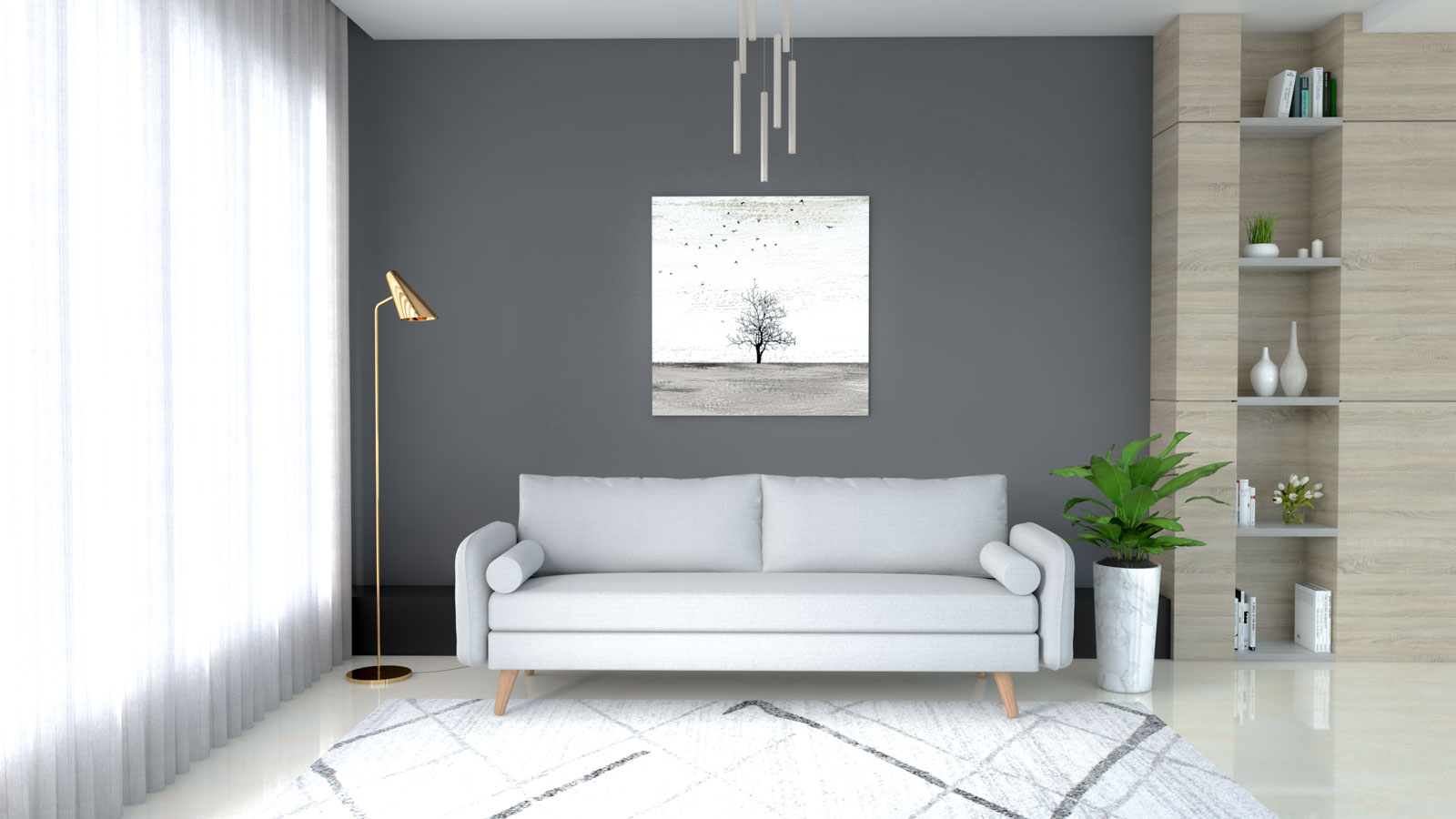 Light gray couch with dark gray wall