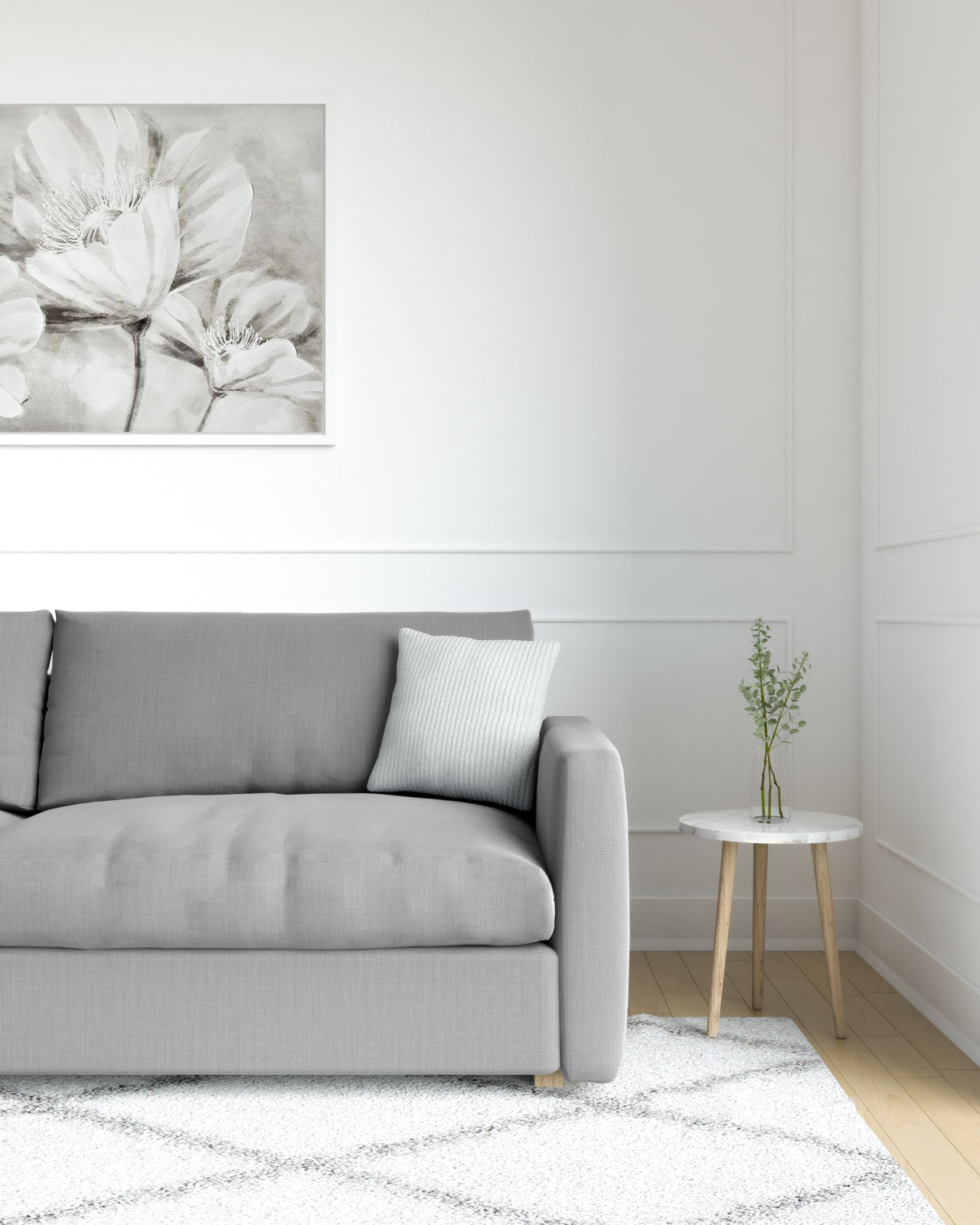 Light gray pillow with dark gray couch