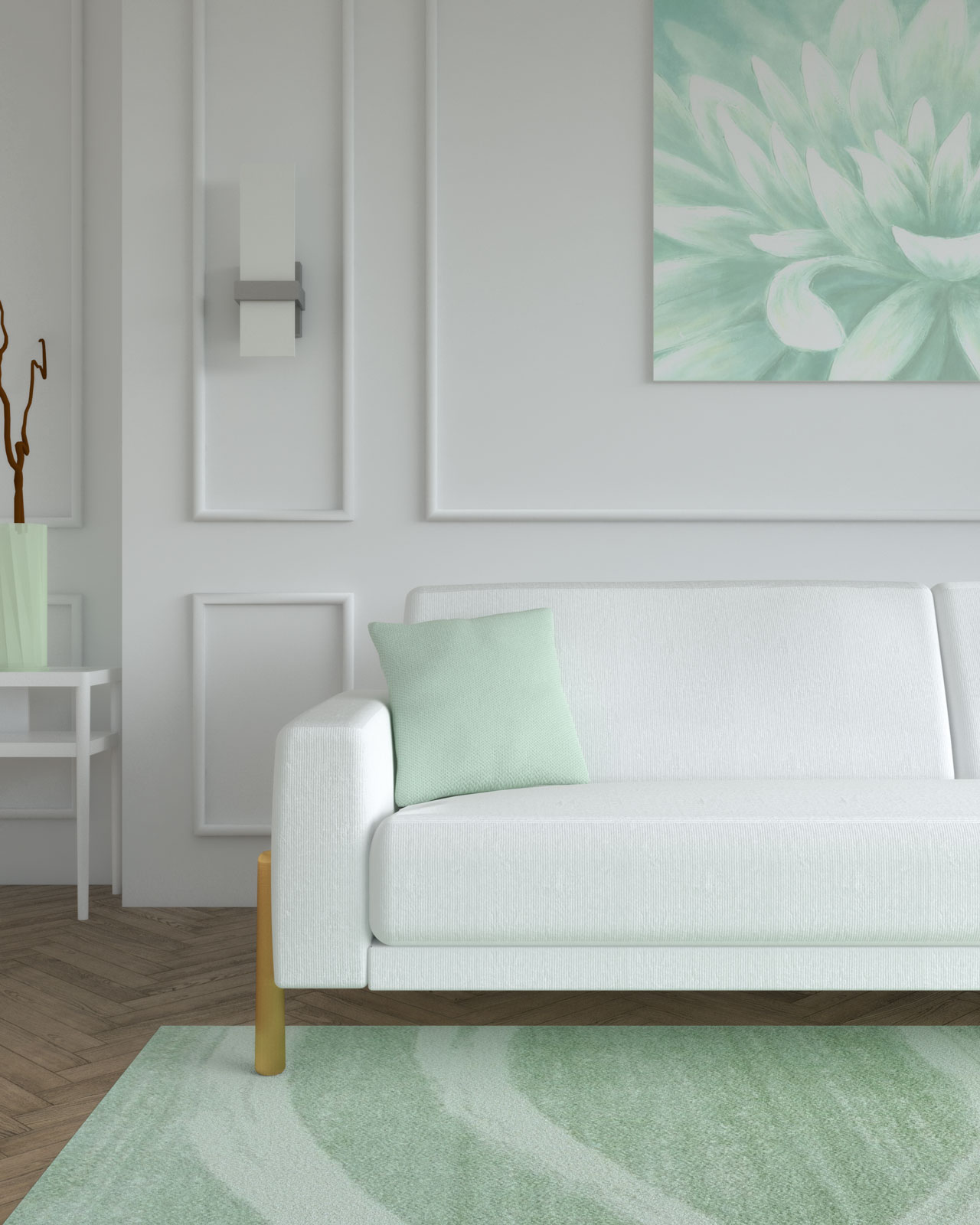 White sofa with light green pop