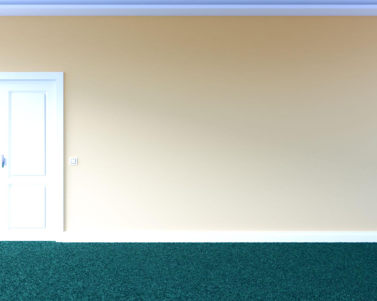 Green carpet with light orange wall
