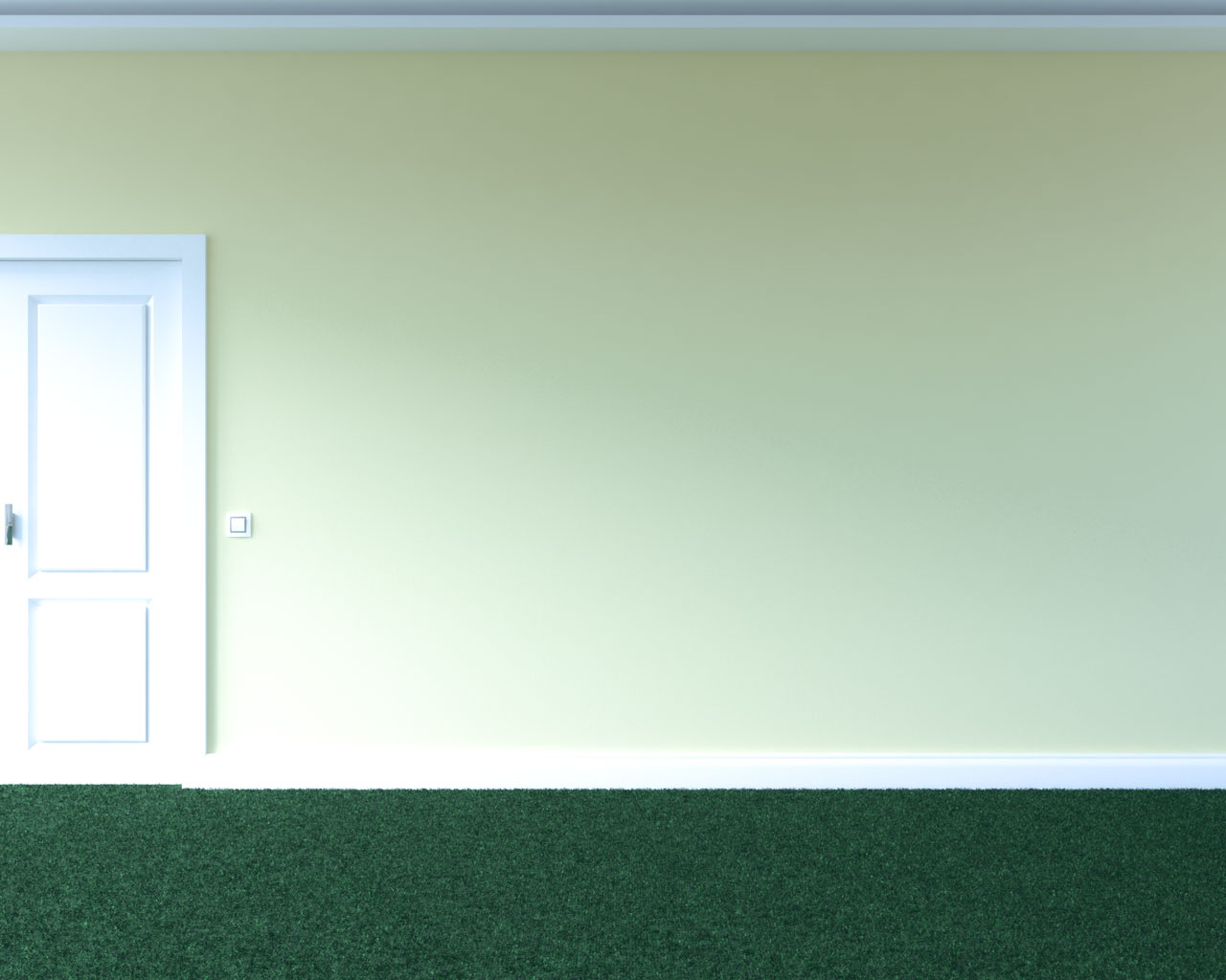 Green carpet with light yellow wall