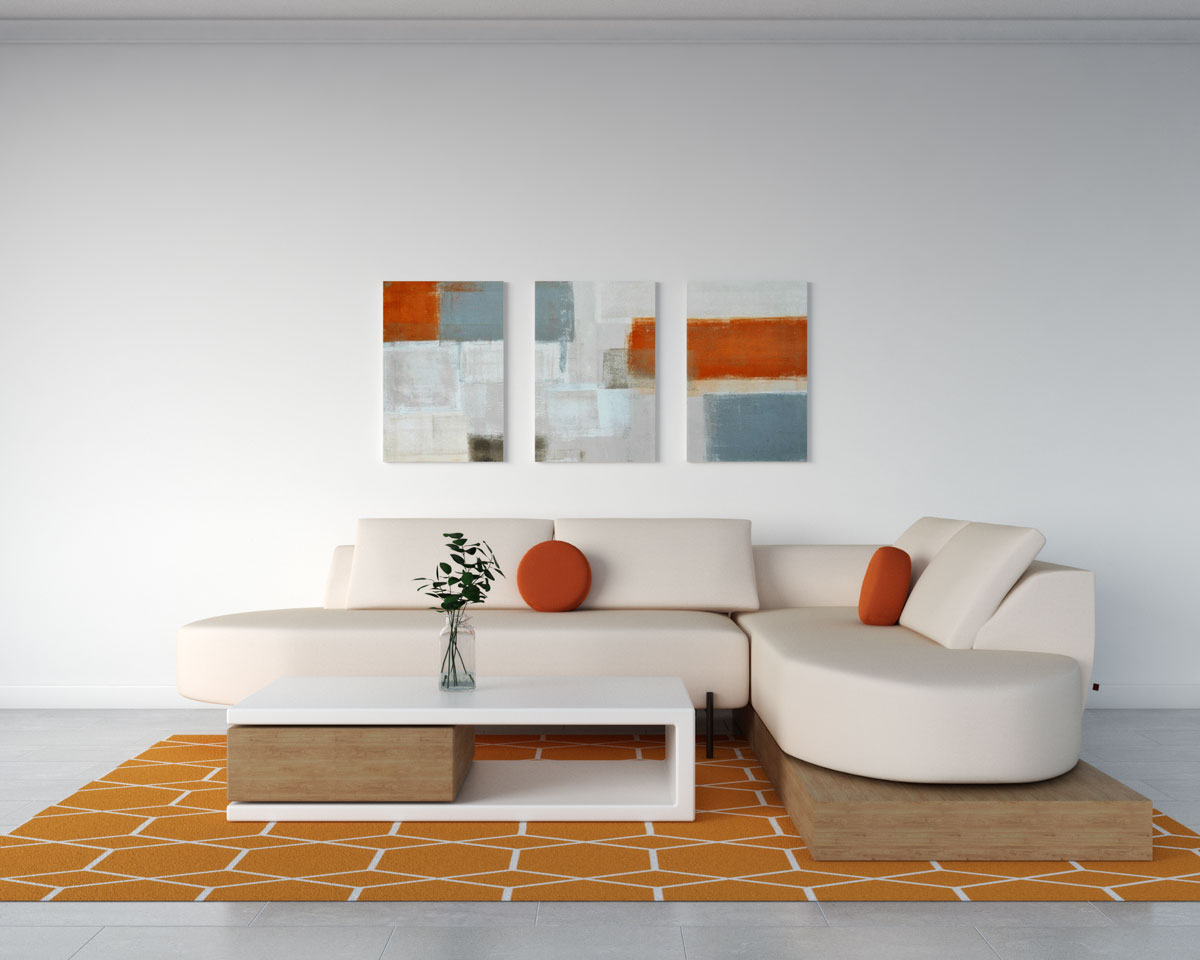 Living room with orange geometric style rug