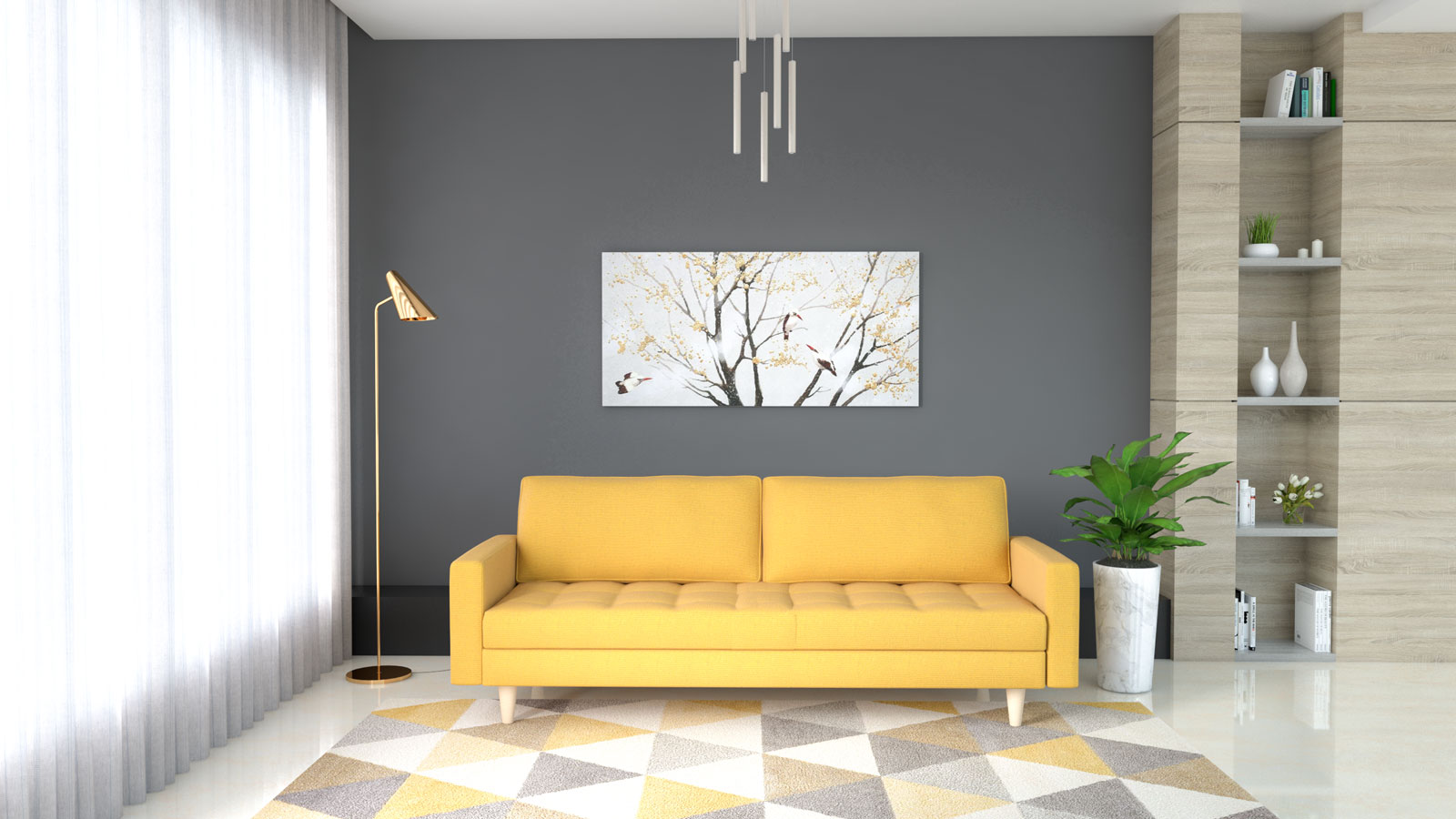 Yellow couch with dark gray background