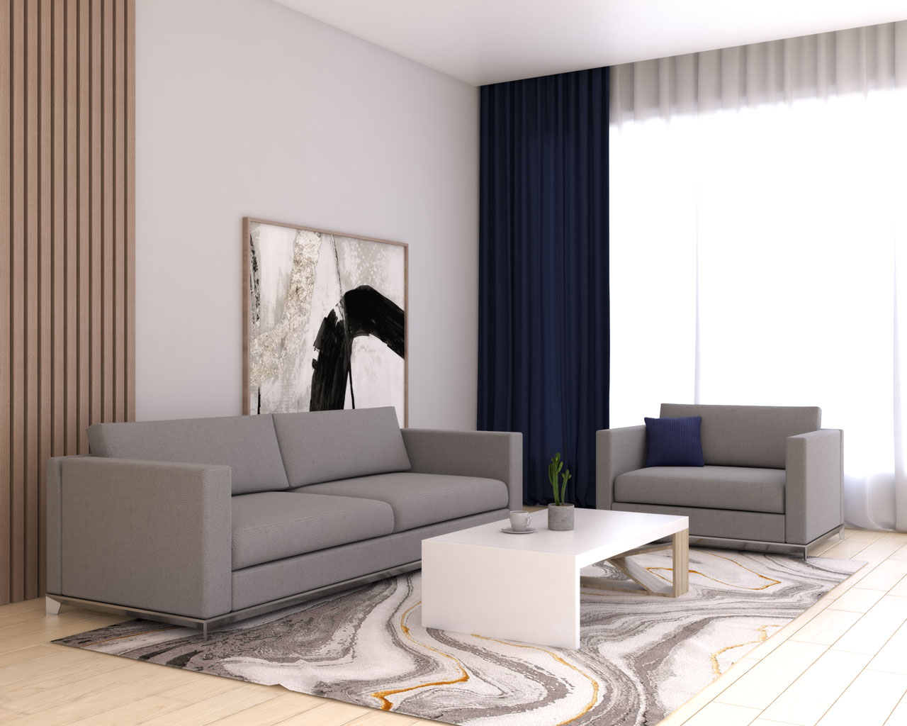 Navy blue curtains with gray sofa