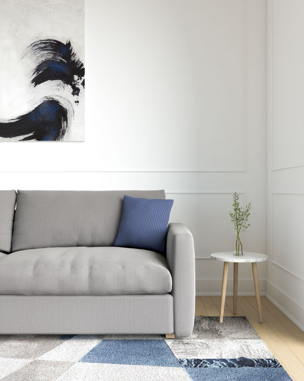Navy blue pillow with gray couches