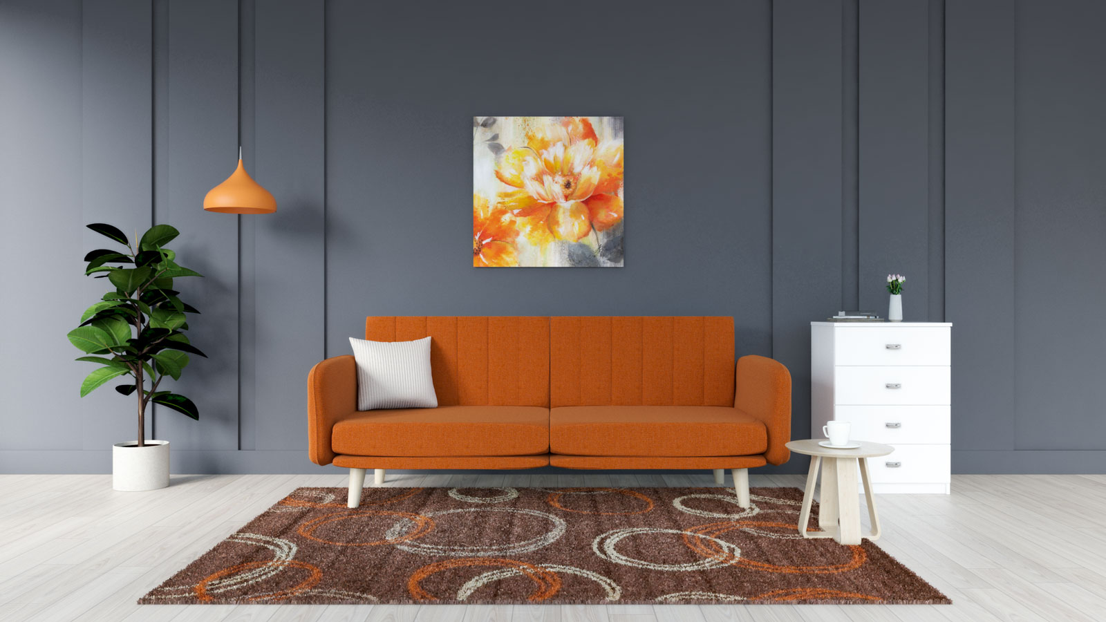 Orange and brown rug with orange couch
