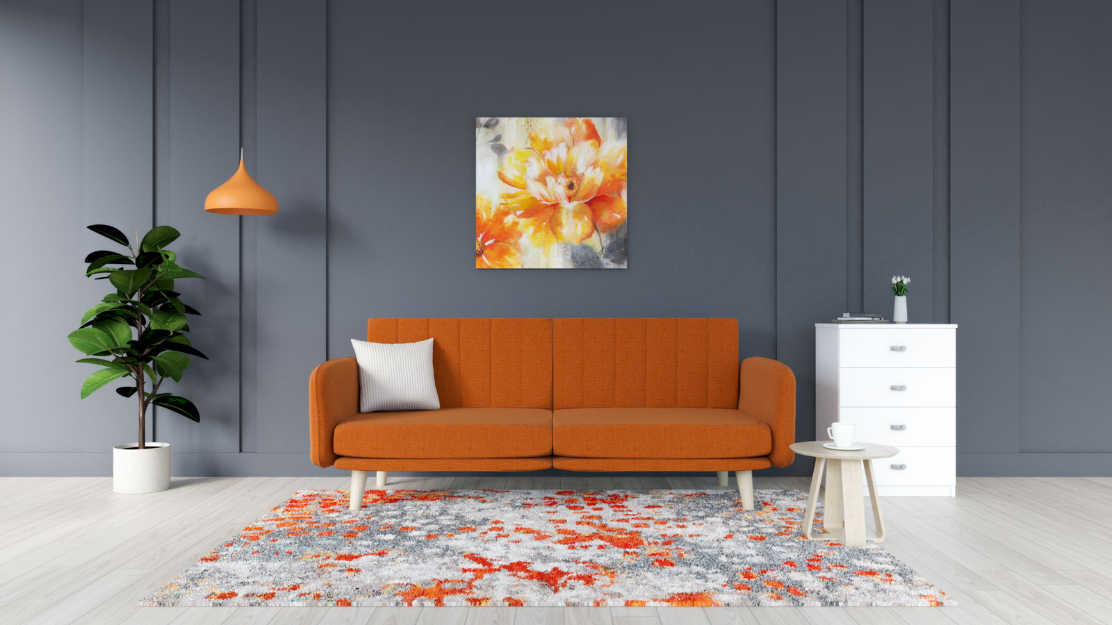 Orange and gray rug in living room