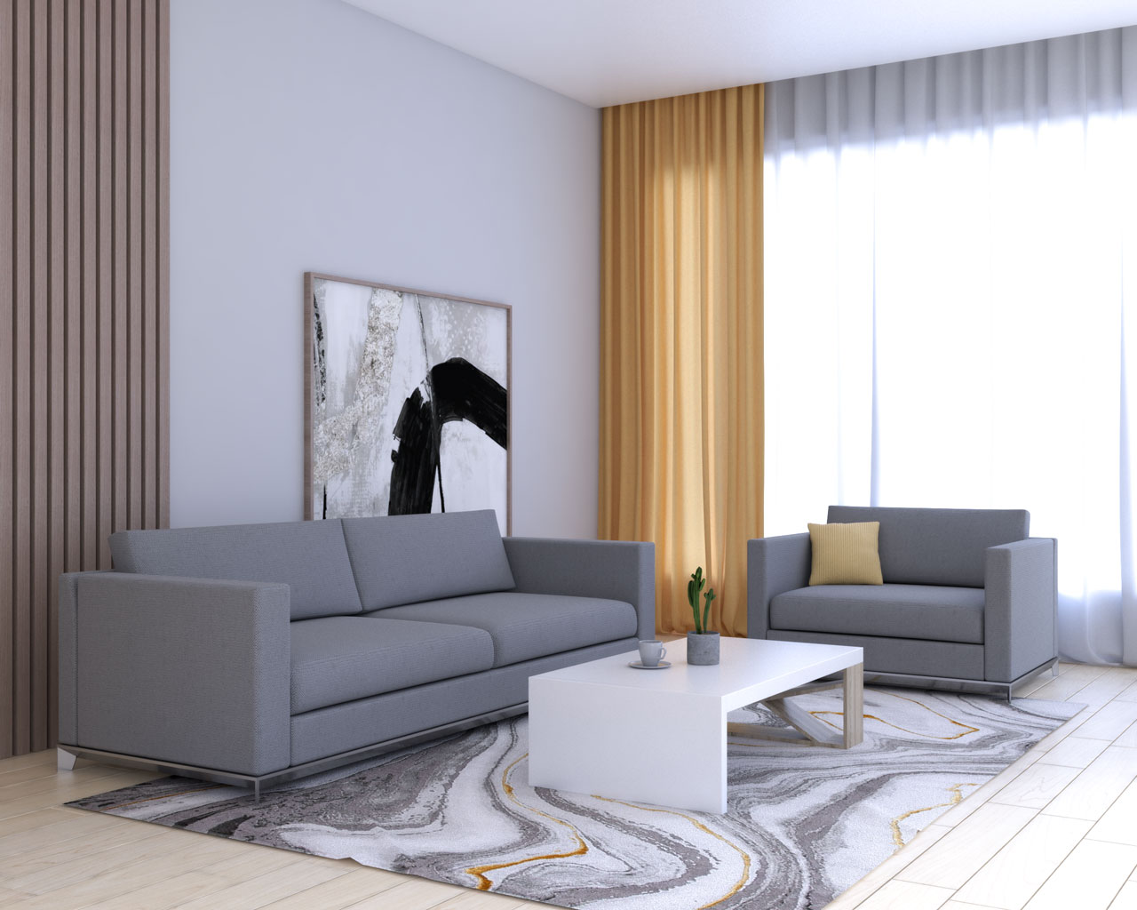 Yellow curtains with gray furniture