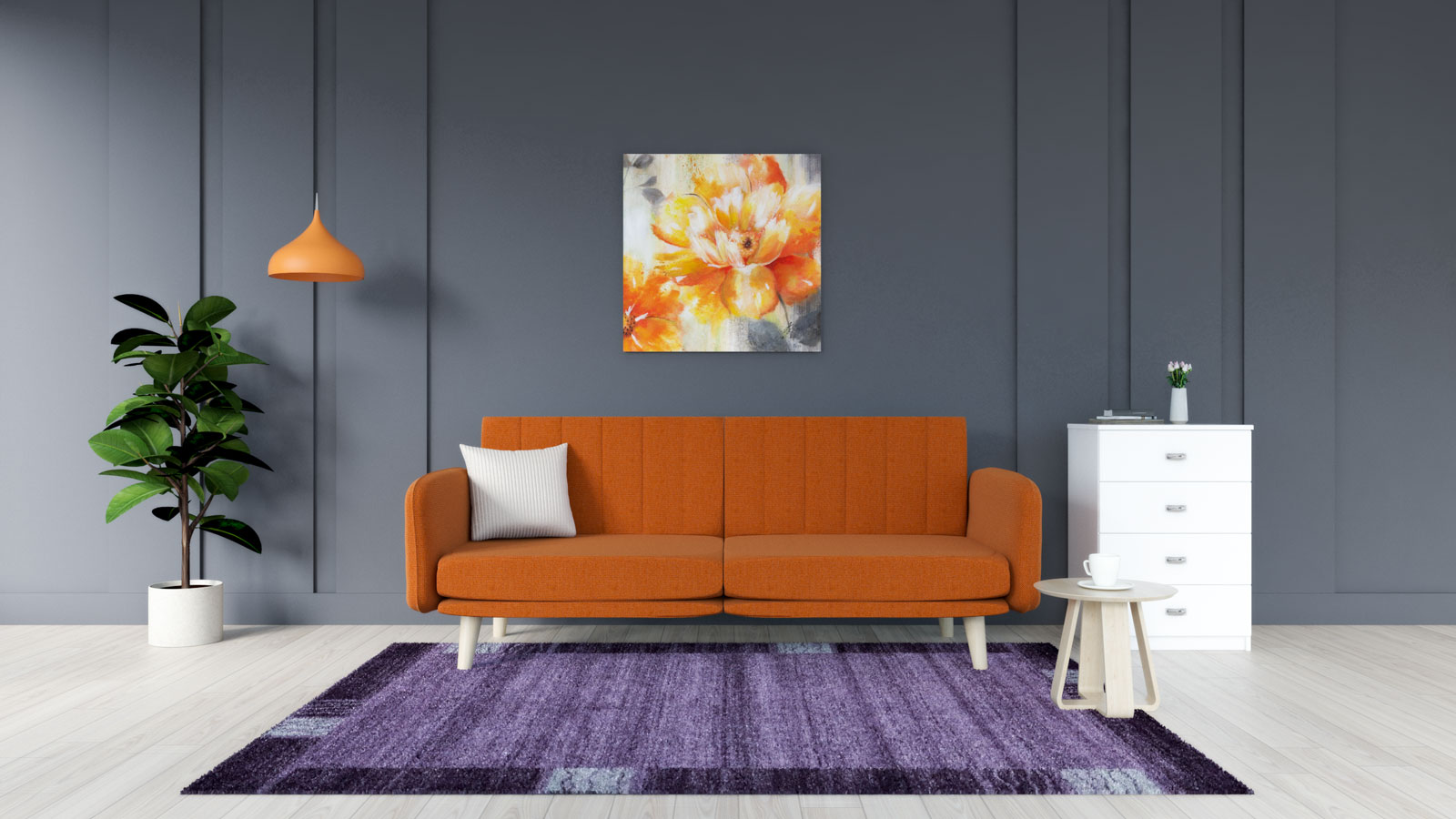 Purple rug with orange couch