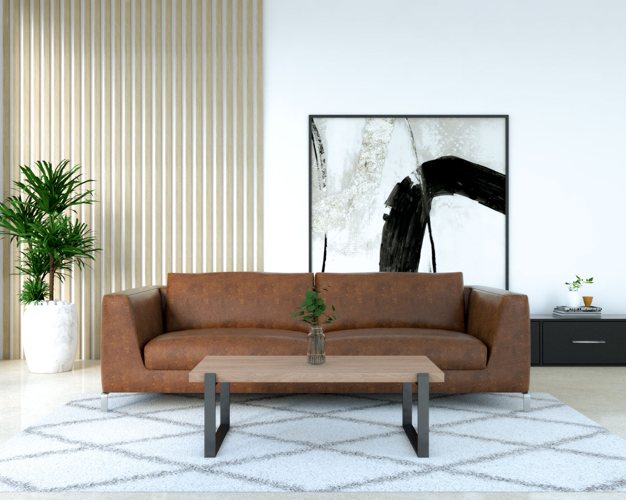 Rustic wood and iron table with brown leather couch