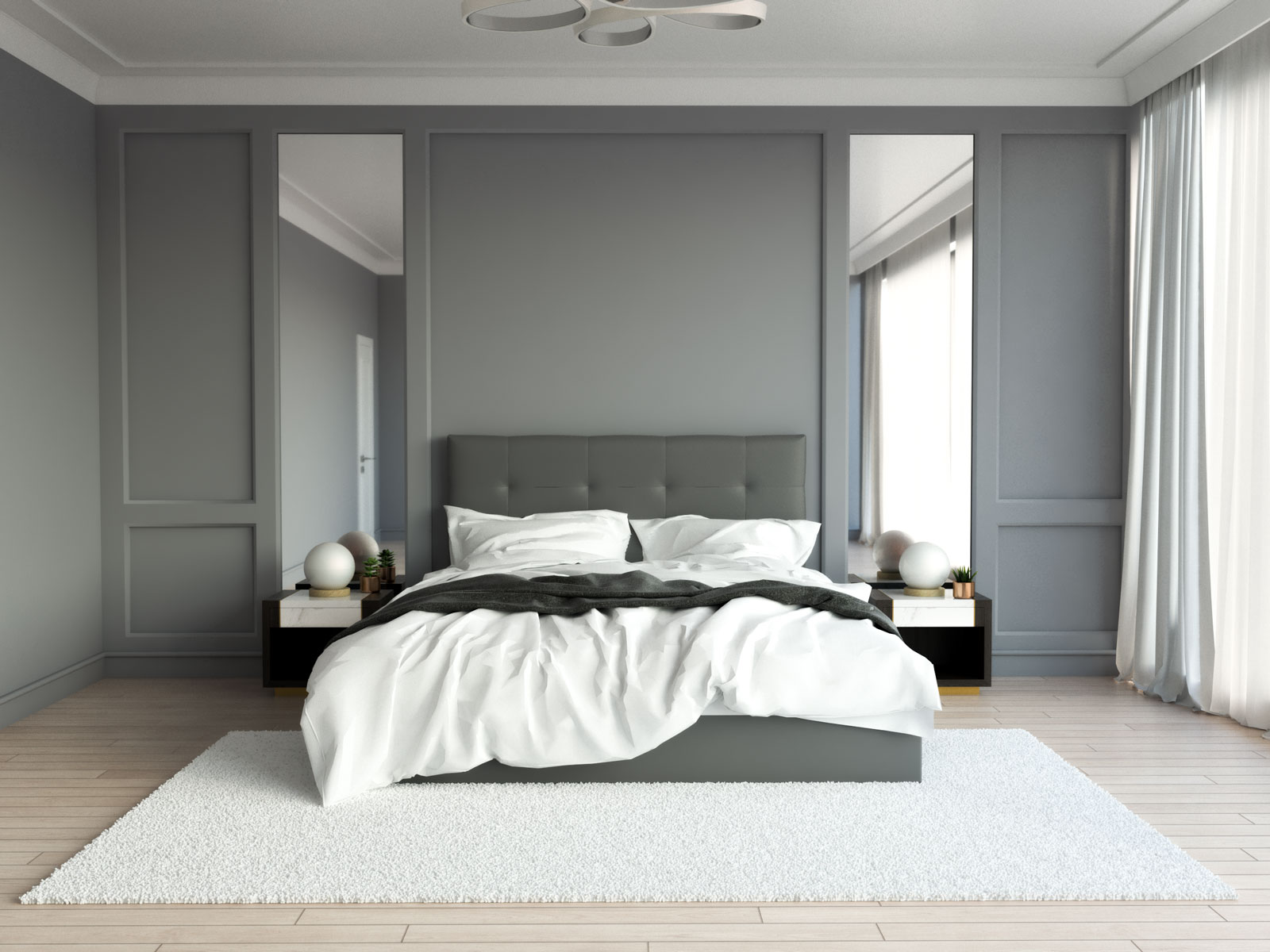 Shaggy white rug with gray walls