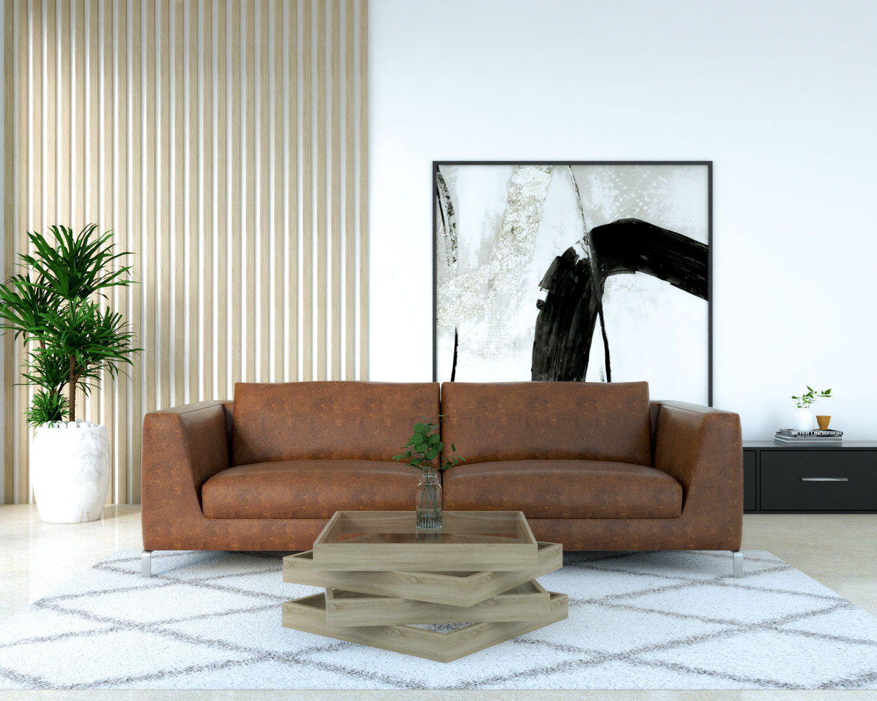 Geometric wood coffee table with brown leather sofa