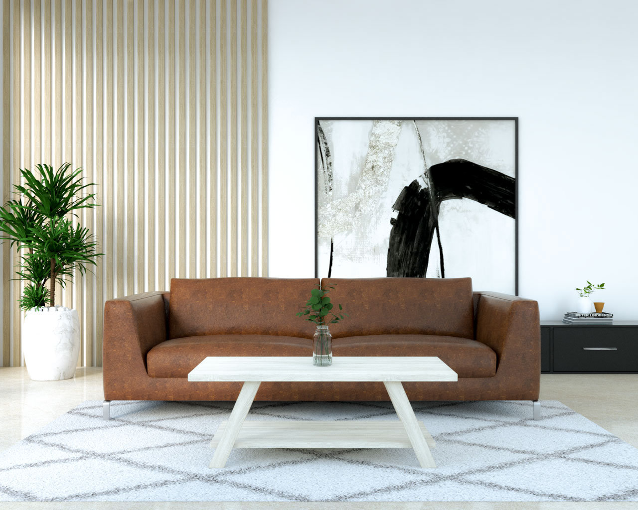 Wooden white table with dark brown leather sofa
