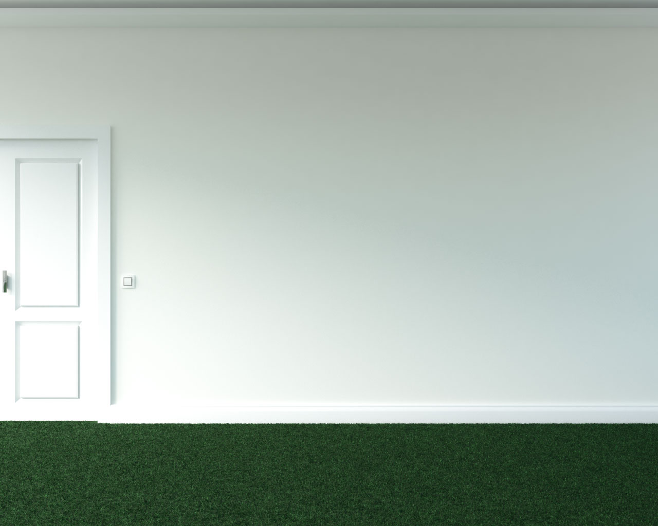 Green carpet with warm white wall