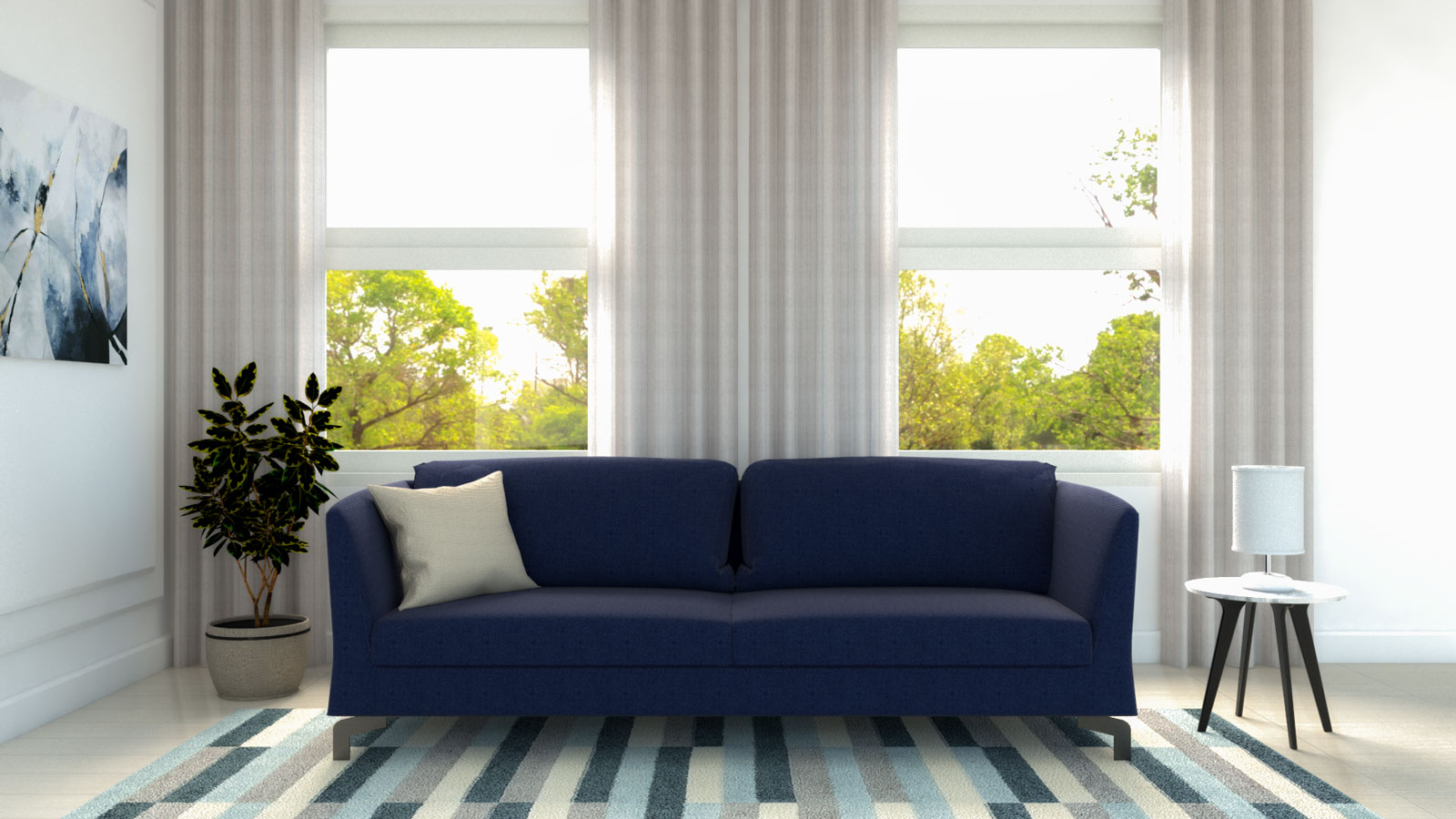 White curtains with blue couch