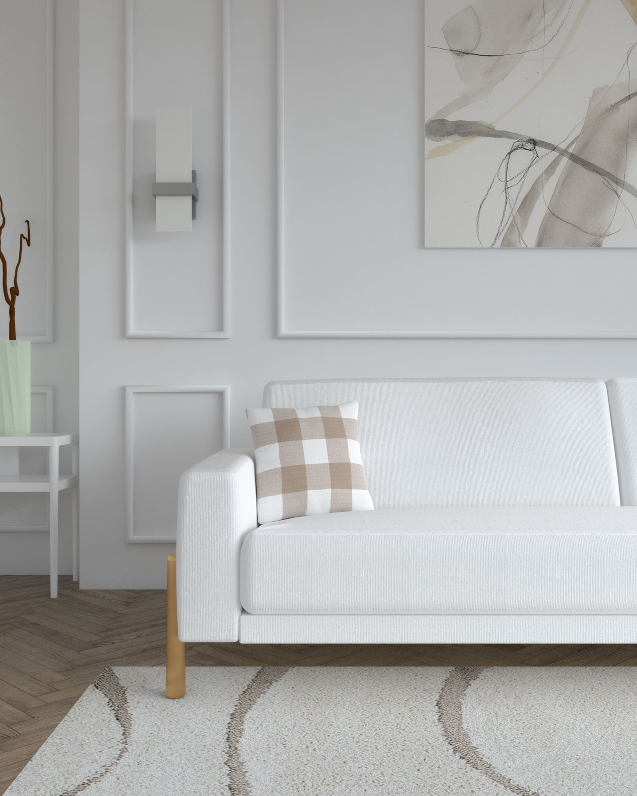 Brown pillow in white couch