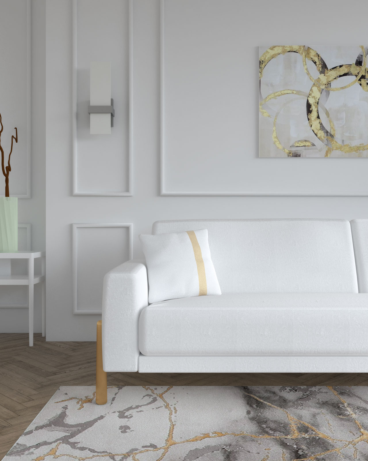 Elegant white sofa with gold accent