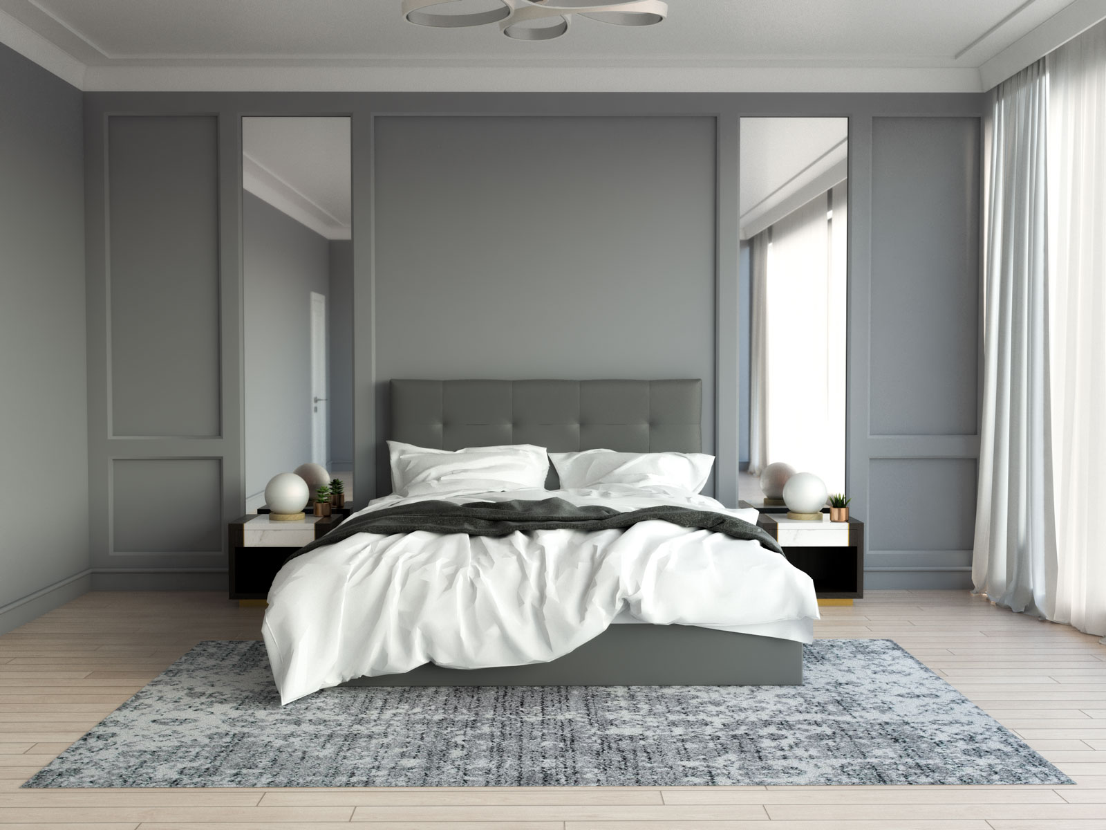 Gray and white rug with gray bedroom