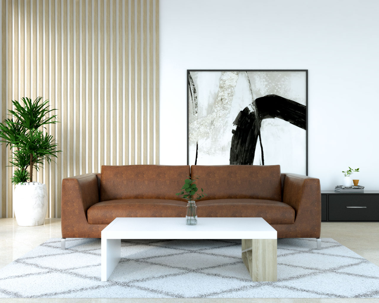 White and wood coffee table with classic brown leather couch