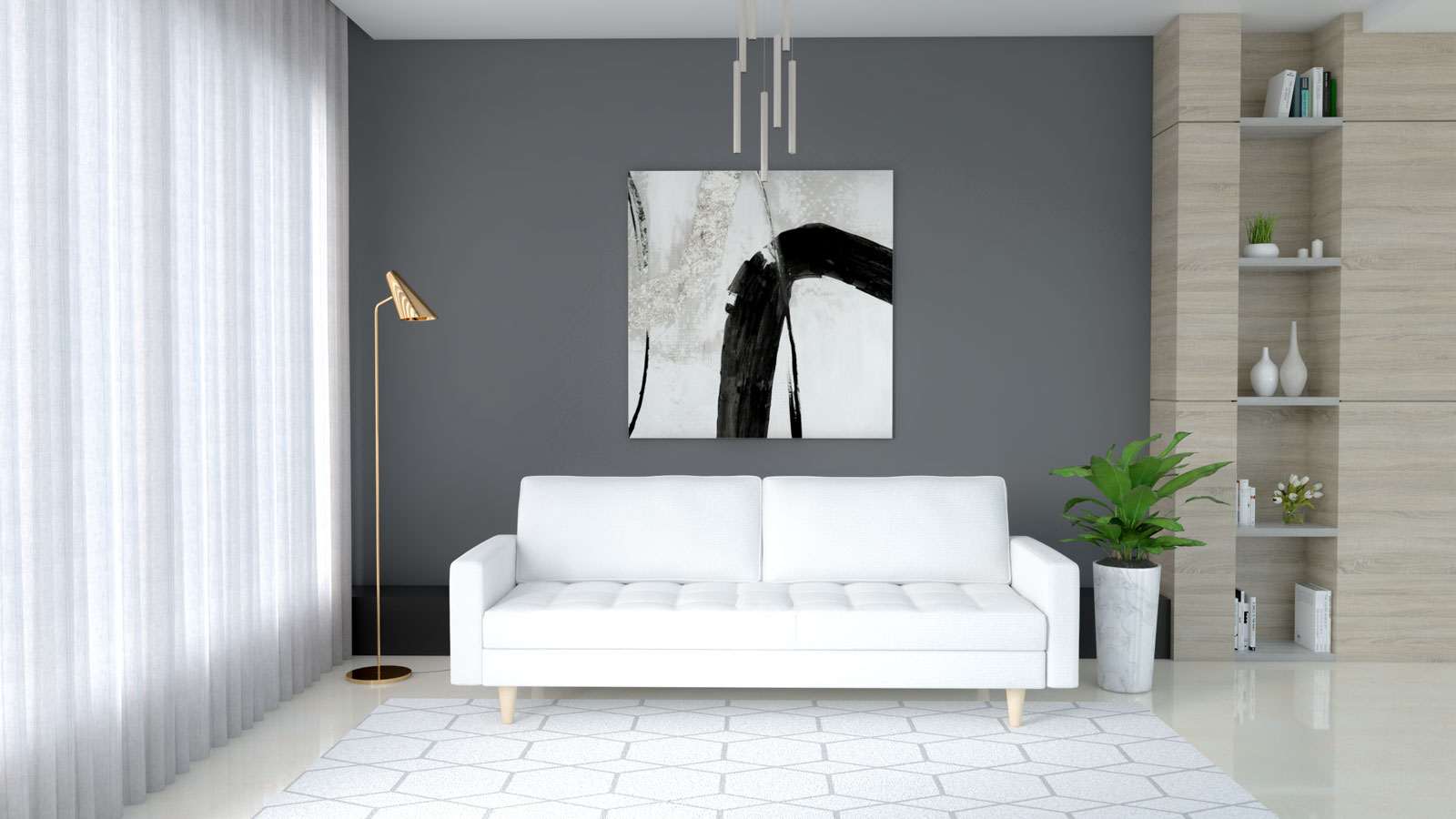 White couch with dark gray wall