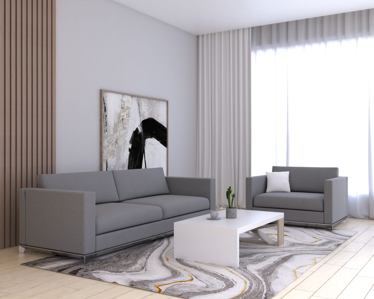 White curtains with gray sofa