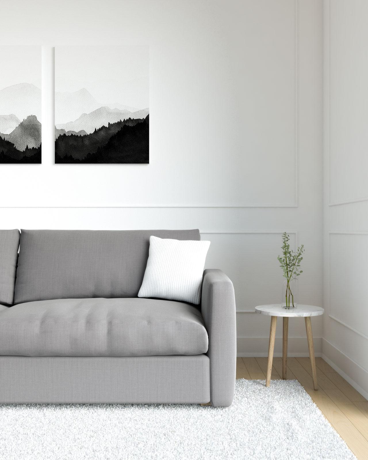 White pillow on grey sofa