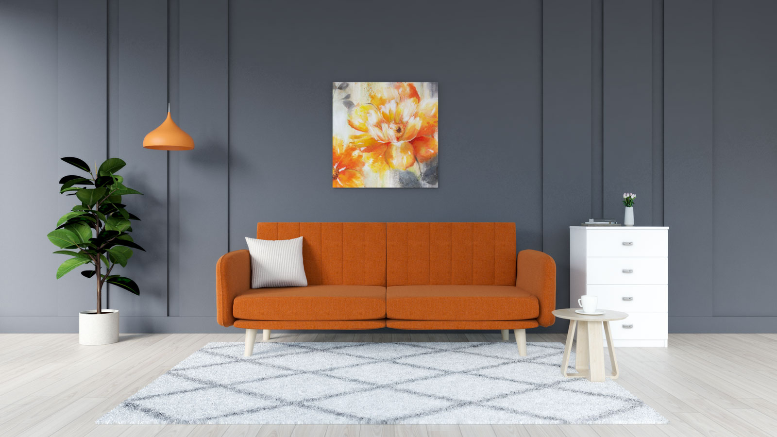 White rug with orange couch