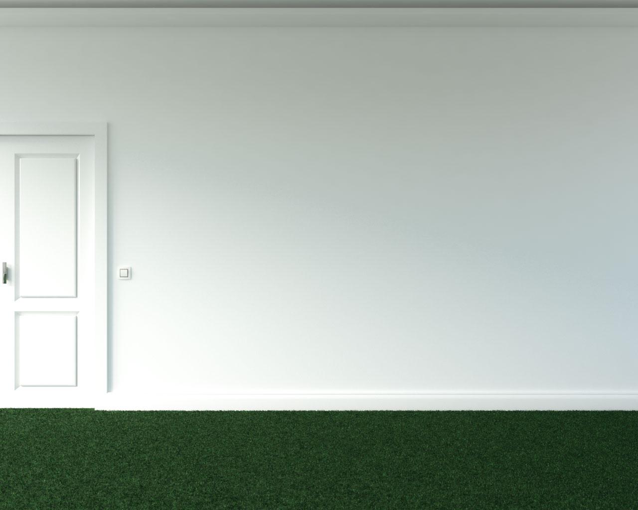 Plain white wall with green carpet floors