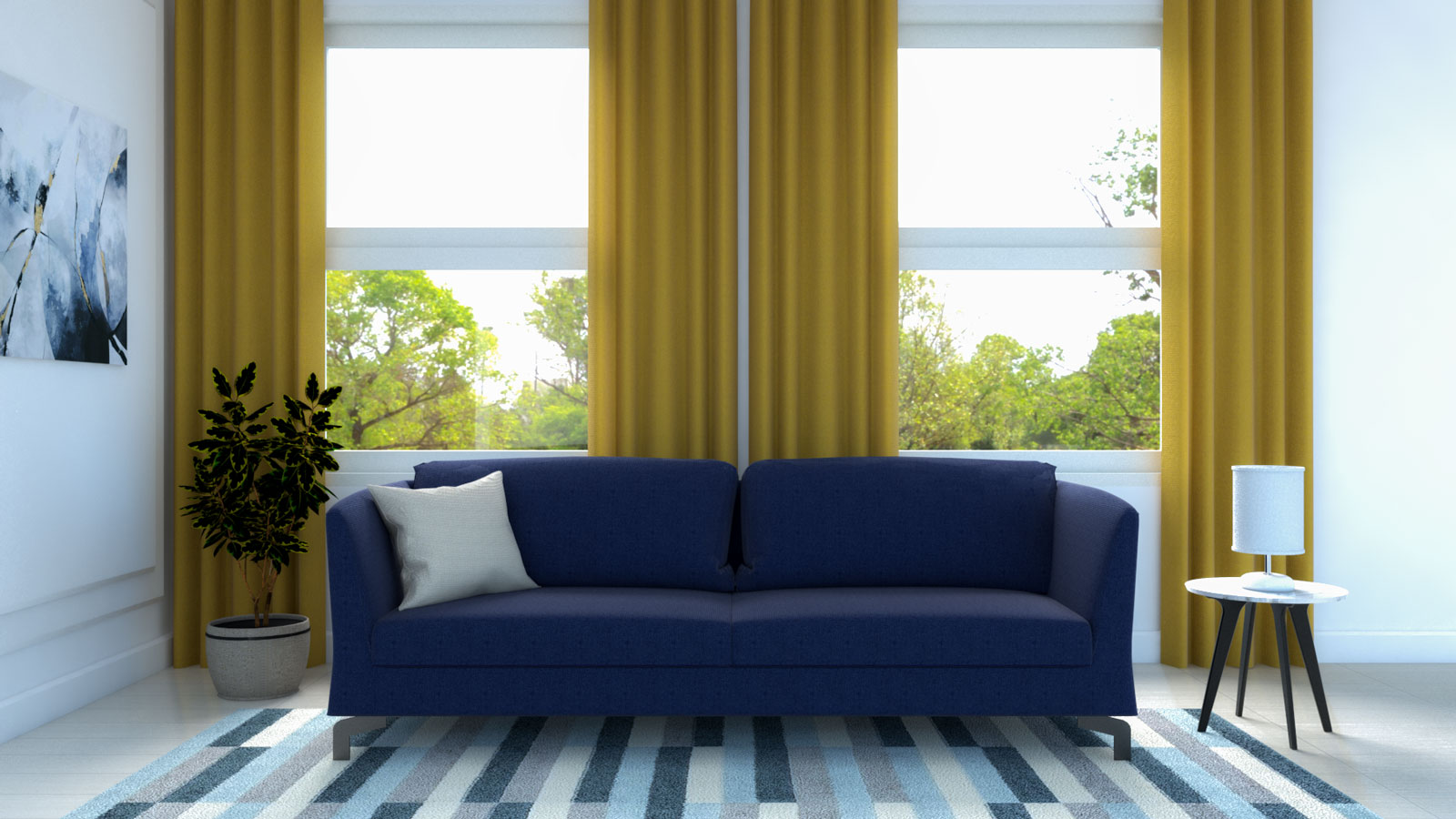 Yellow curtains with navy blue sofa