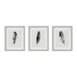 set of 3 minimalist gray feather wall art