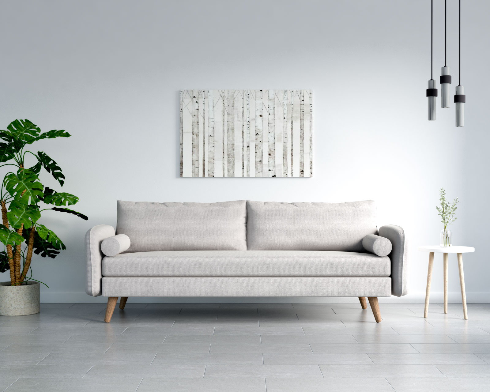 Beige couch with gray floors