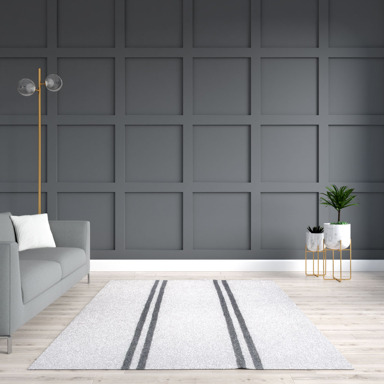 Grey wall with beige and grey rug