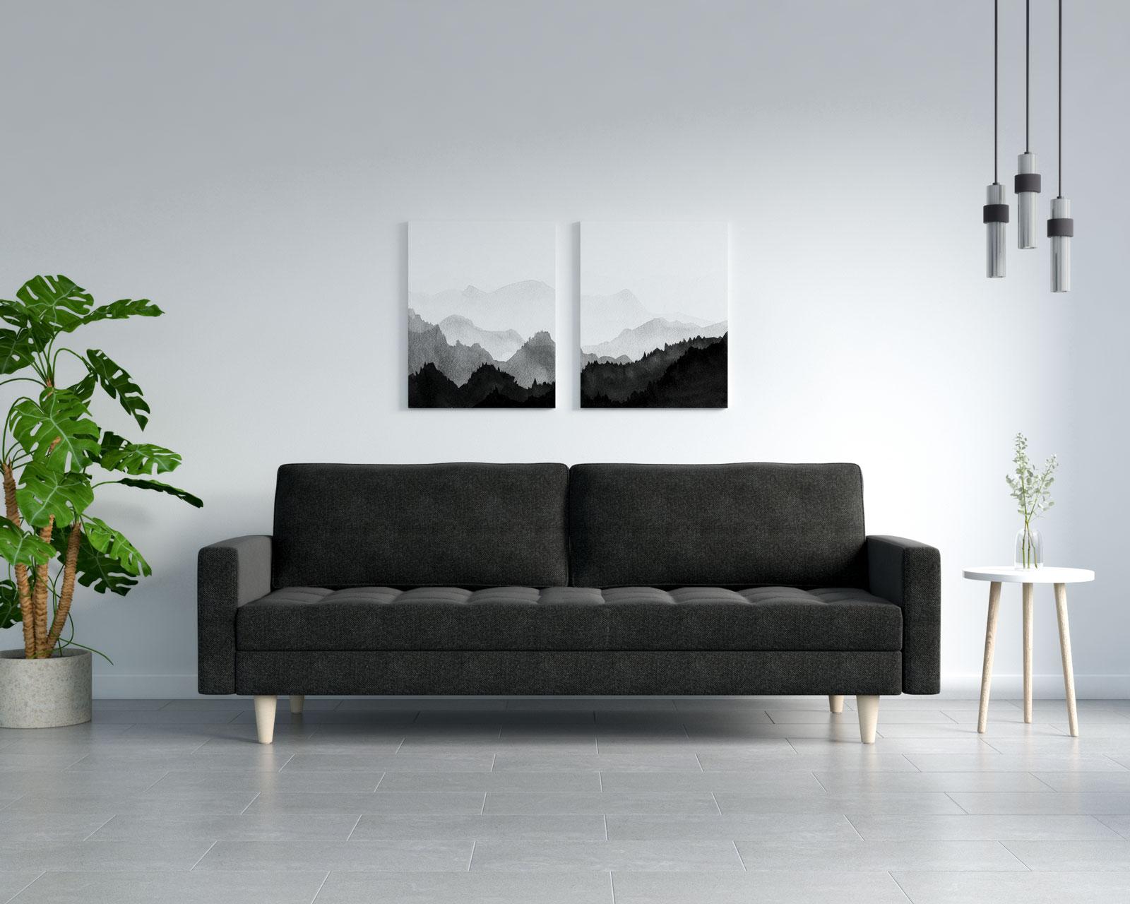 Black sofa with grey flooring