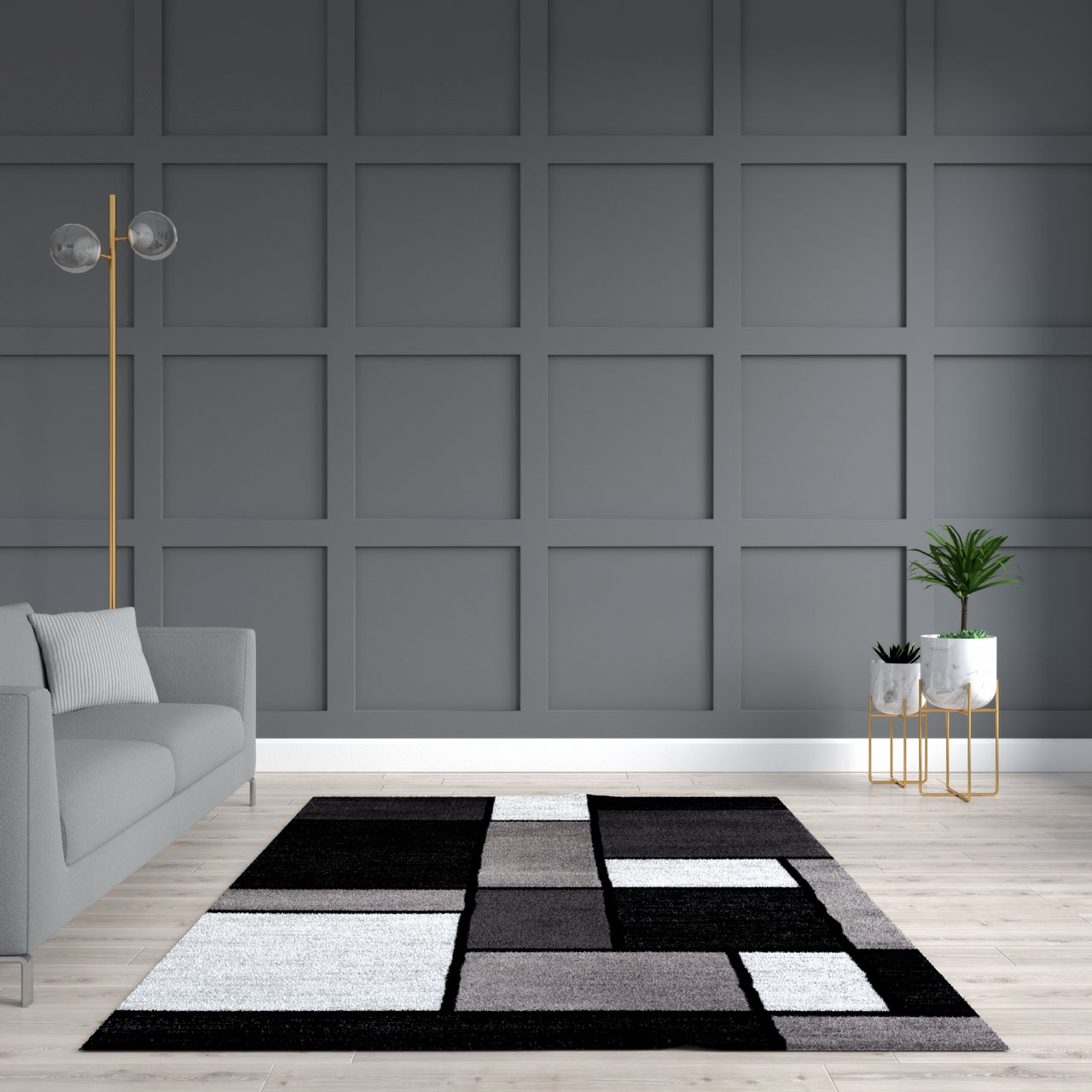 Black and white rug with dark gray accent wall