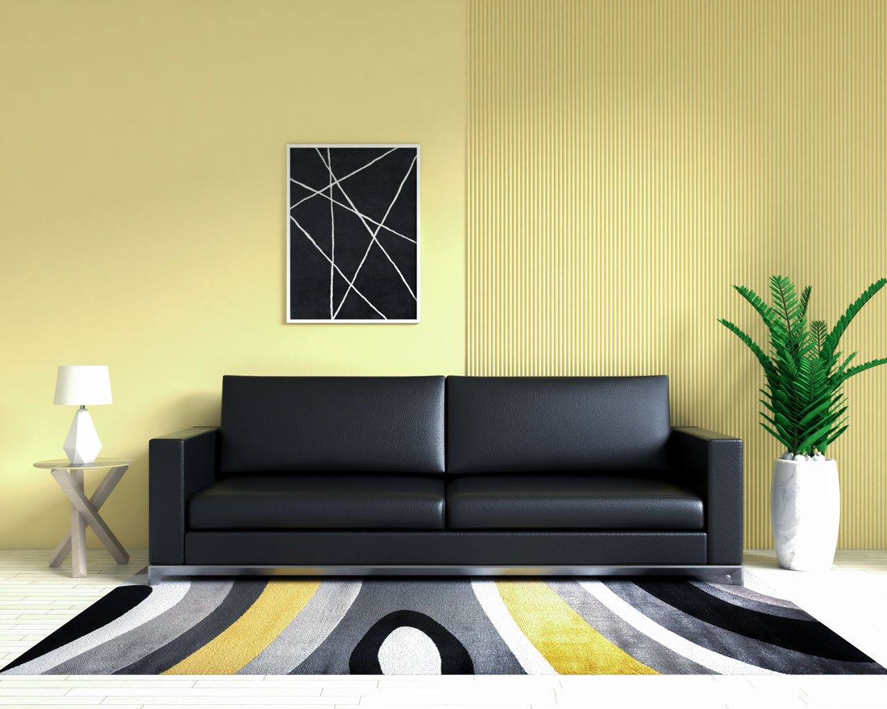 Black leather couch with yellow wall