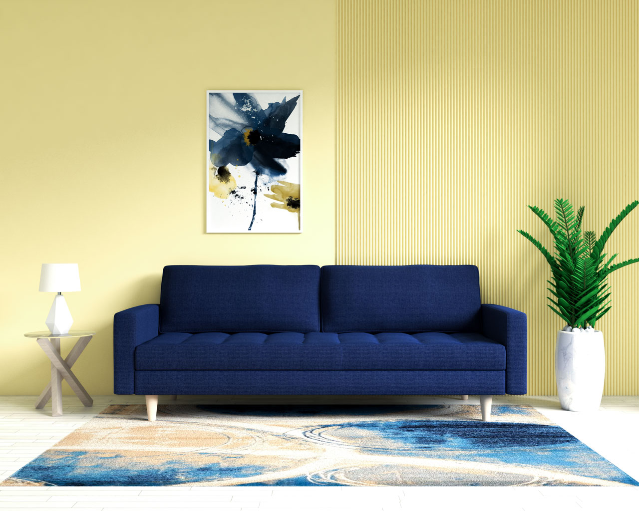 Navy blue sofa with yellow wall