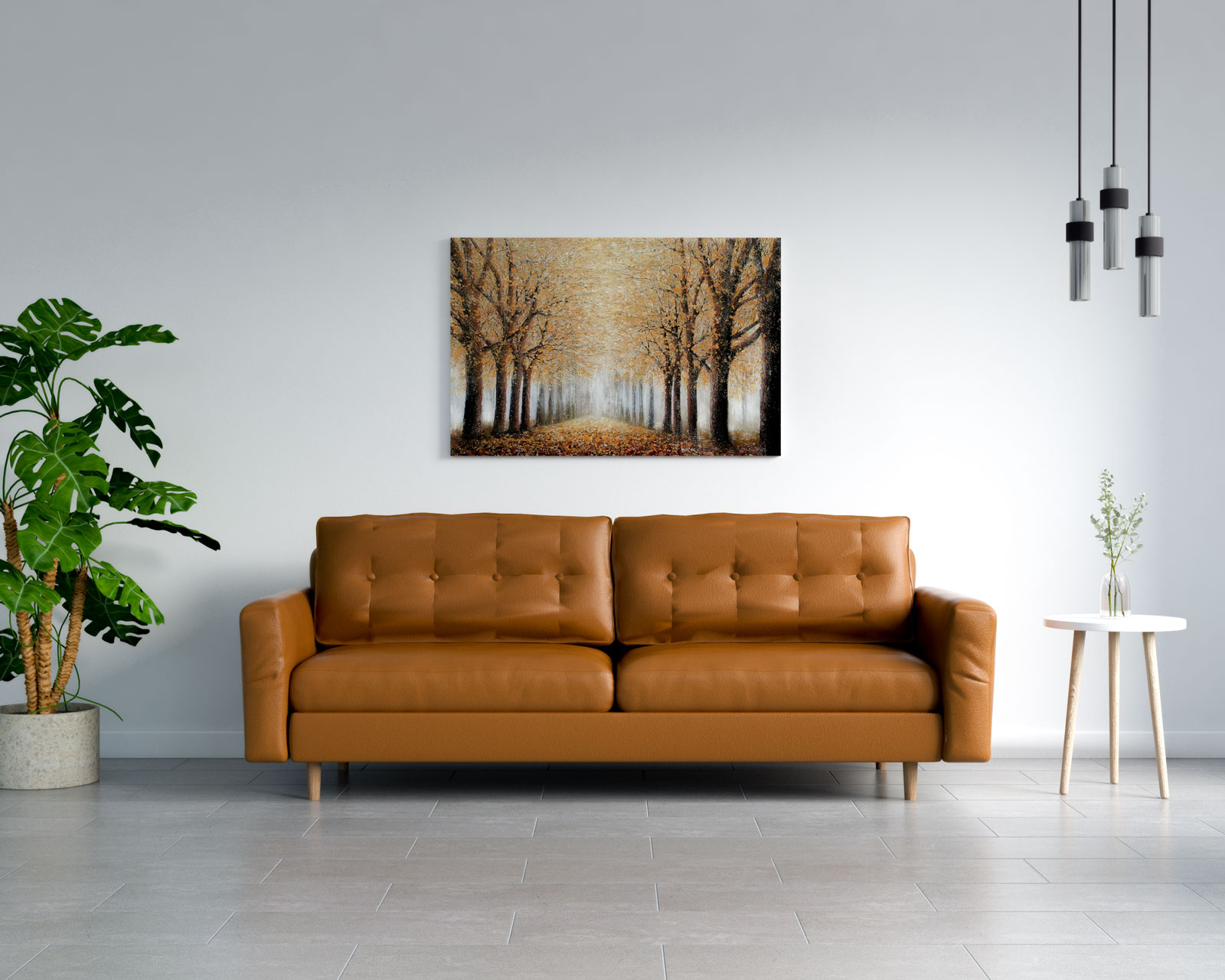 Brown leather couch with gray floors
