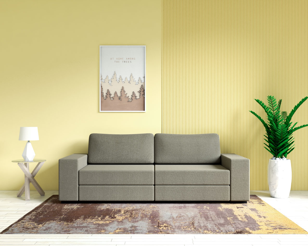 Brown sofa with yellow accent wall
